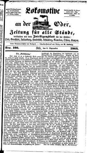 Lokomotive an der Oder on Sep 6, 1864