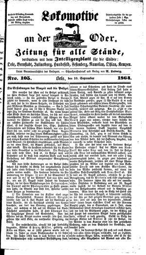 Lokomotive an der Oder vom 10.09.1864