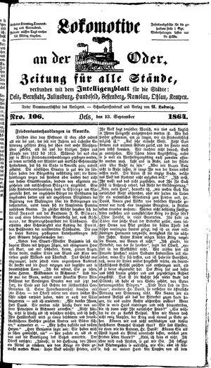 Lokomotive an der Oder vom 13.09.1864