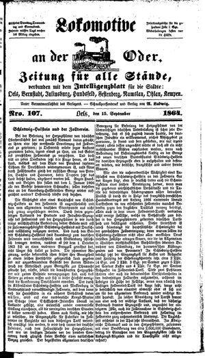 Lokomotive an der Oder vom 15.09.1864