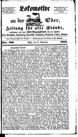 Lokomotive an der Oder vom 17.09.1864
