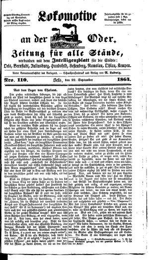 Lokomotive an der Oder vom 22.09.1864