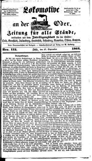 Lokomotive an der Oder vom 27.09.1864