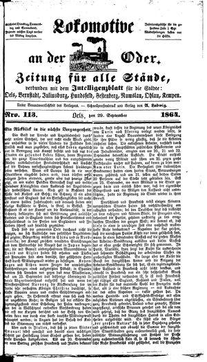 Lokomotive an der Oder vom 29.09.1864