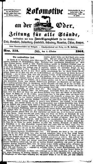 Lokomotive an der Oder vom 01.10.1864