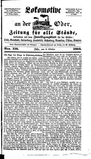 Lokomotive an der Oder vom 06.10.1864