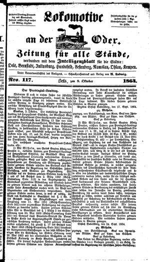 Lokomotive an der Oder vom 08.10.1864