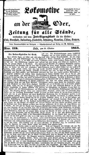 Lokomotive an der Oder on Oct 11, 1864