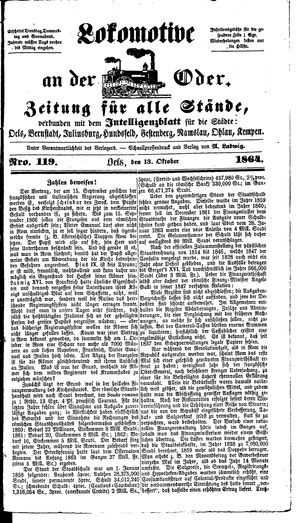 Lokomotive an der Oder vom 13.10.1864