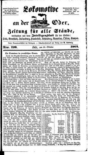 Lokomotive an der Oder vom 15.10.1864