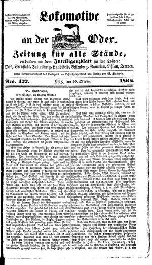 Lokomotive an der Oder vom 20.10.1864