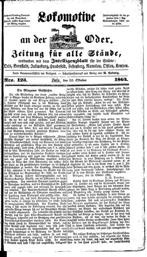 Lokomotive an der Oder vom 22.10.1864