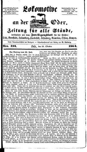 Lokomotive an der Oder vom 25.10.1864