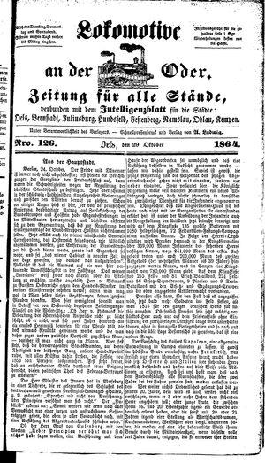 Lokomotive an der Oder vom 29.10.1864
