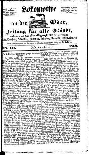 Lokomotive an der Oder vom 01.11.1864