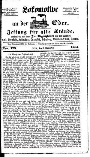 Lokomotive an der Oder vom 03.11.1864