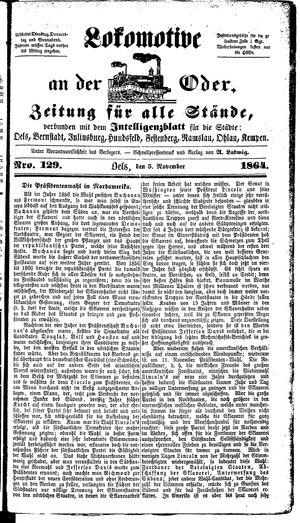 Lokomotive an der Oder vom 05.11.1864