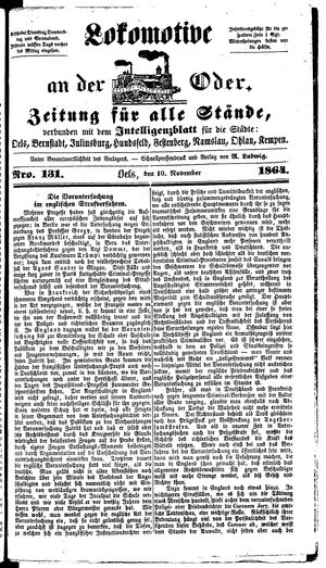 Lokomotive an der Oder vom 10.11.1864
