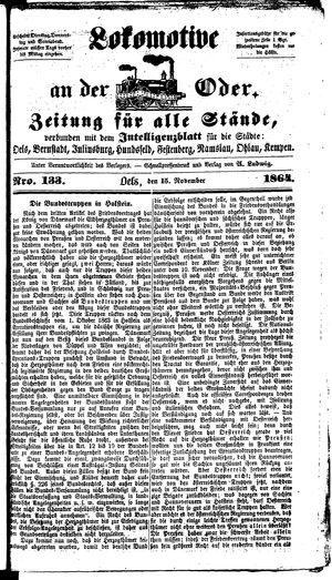 Lokomotive an der Oder vom 15.11.1864