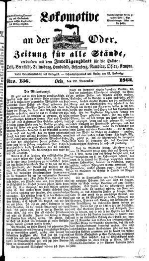 Lokomotive an der Oder vom 22.11.1864