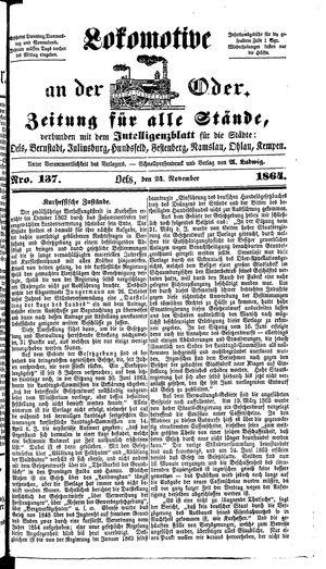 Lokomotive an der Oder vom 24.11.1864