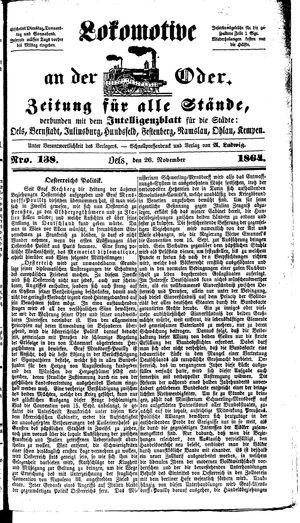 Lokomotive an der Oder vom 26.11.1864