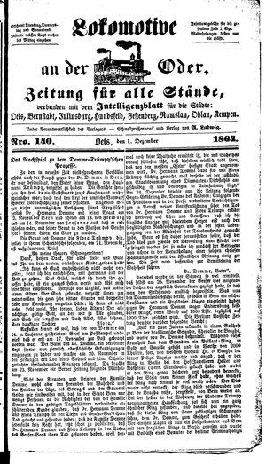 Lokomotive an der Oder on Dec 1, 1864