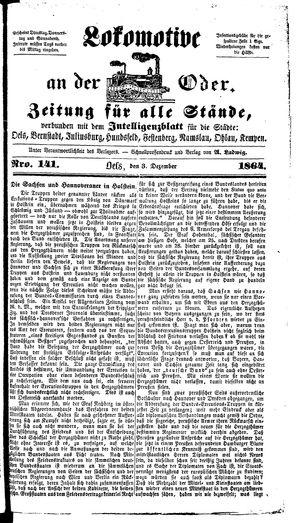 Lokomotive an der Oder vom 03.12.1864