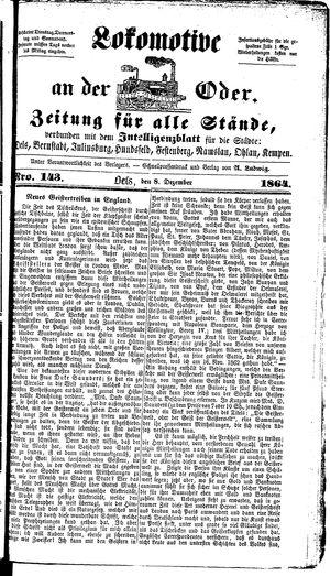 Lokomotive an der Oder vom 08.12.1864