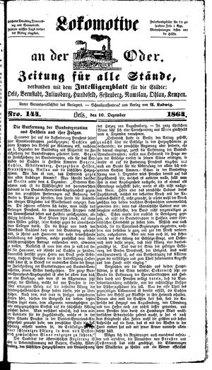 Lokomotive an der Oder vom 10.12.1864