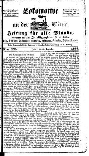 Lokomotive an der Oder vom 13.12.1864