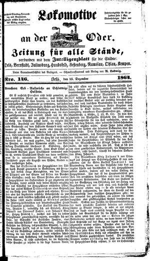 Lokomotive an der Oder vom 15.12.1864