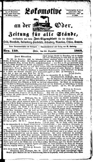 Lokomotive an der Oder vom 22.12.1864