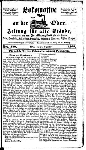 Lokomotive an der Oder vom 24.12.1864