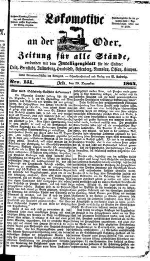 Lokomotive an der Oder vom 29.12.1864