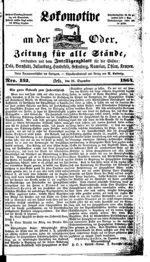 Lokomotive an der Oder vom 31.12.1864