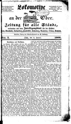 Lokomotive an der Oder vom 04.01.1866