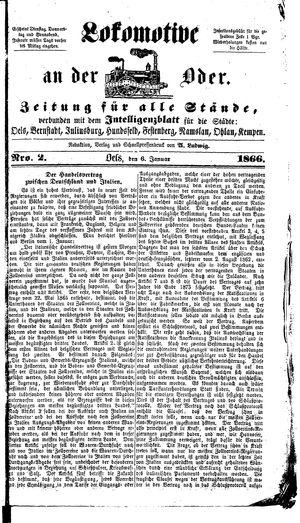 Lokomotive an der Oder vom 06.01.1866