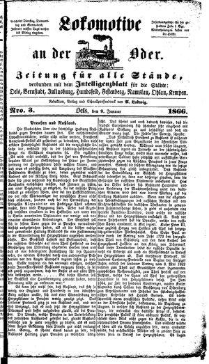 Lokomotive an der Oder vom 09.01.1866