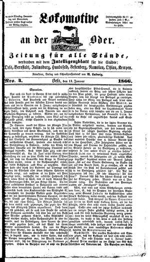 Lokomotive an der Oder vom 11.01.1866