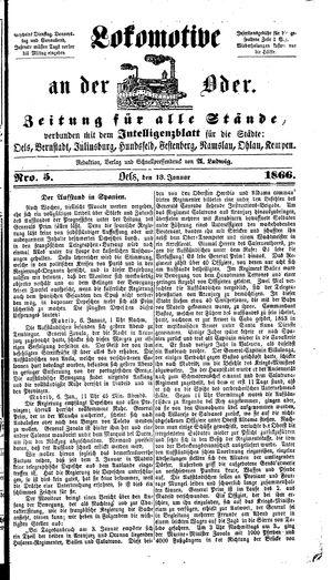 Lokomotive an der Oder vom 13.01.1866