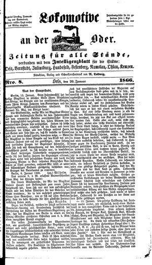 Lokomotive an der Oder vom 20.01.1866