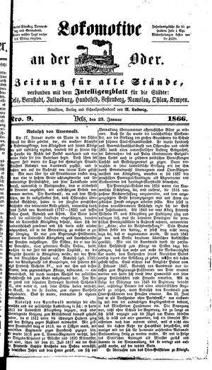 Lokomotive an der Oder on Jan 23, 1866