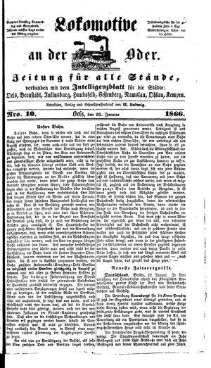 Lokomotive an der Oder vom 25.01.1866