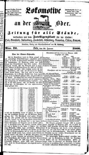 Lokomotive an der Oder vom 30.01.1866