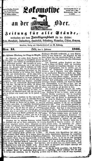 Lokomotive an der Oder on Feb 1, 1866