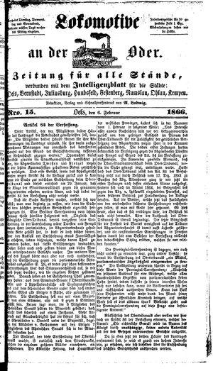Lokomotive an der Oder vom 06.02.1866