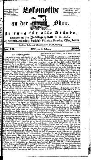 Lokomotive an der Oder vom 08.02.1866