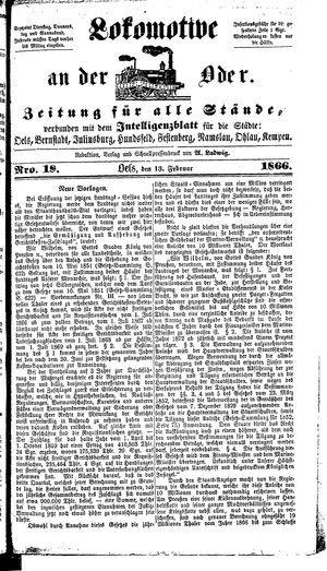 Lokomotive an der Oder vom 13.02.1866