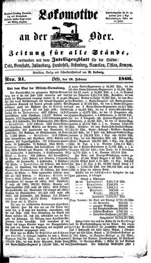 Lokomotive an der Oder vom 20.02.1866